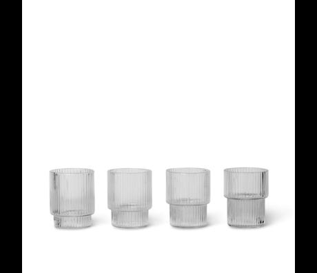 Ferm Living Glass Ripple Kleines transparentes Glasset mit 4 Ø5,2x6,2cm