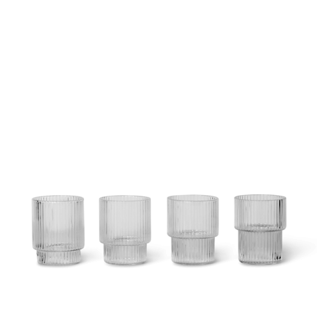 Ferm Living Glass Ripple Small transparent glass set of 4 Ø5.2x6.2cm