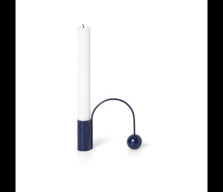 Ferm Living Candlestick Balance dark blue chrome 11x2.5x9.5 cm