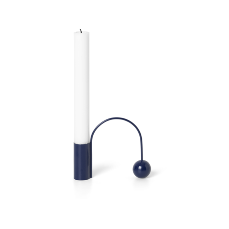 Ferm Living Candlestick Balance dunkelblau verchromt 11x2,5x9,5 cm