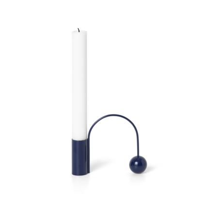 Ferm Living Kandelaar Balance donker blauw chroom 11x2,5x9,5cm