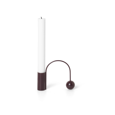 Ferm Living Candlestick Balance dunkle Aubergine lila Chrom 11x2,5x9,5 cm