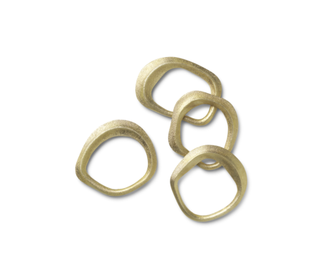 Ferm Living Napkin ring Flow brass gold metal set of 4 6,8x6,5x1cm
