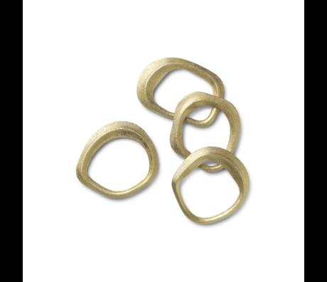Ferm Living Rond de serviette Flow laiton laiton doré set de 4 6,8x6,5x1cm