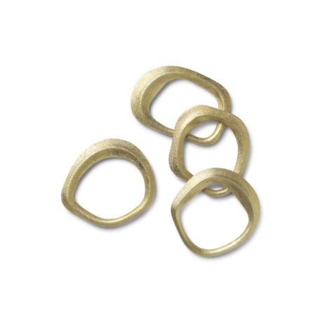 Ferm Living Servetring Flow brass goud metaal set van 4 6,8x6,5x1cm