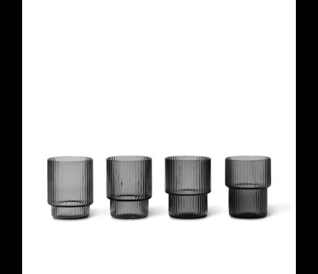 Ferm Living Glass Ripple Small set de verres gris fumé de Ø4 5.2x6.2cm