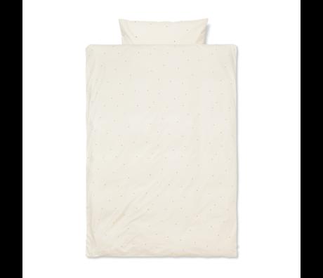 Ferm Living Dekbedovertrek Dot geborduurd  tiener Off-White katoen 140x200cm