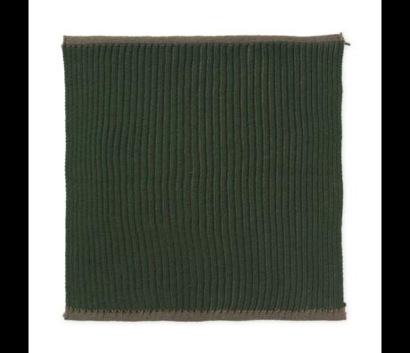 Ferm Living Torchon double en coton vert foncé lot de 2 26x26cm