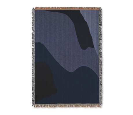 Ferm Living Vista home blanket dark blue cotton 120x170cm