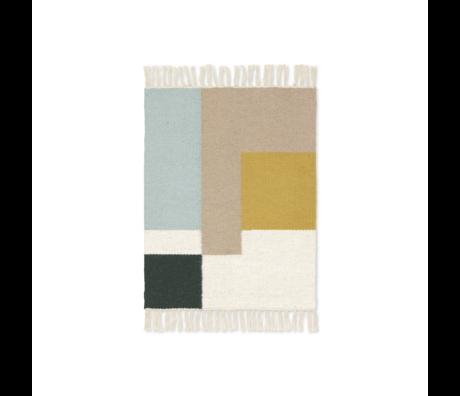 Ferm Living Mat Kelim Squares laine multicolore coton 50x70cm