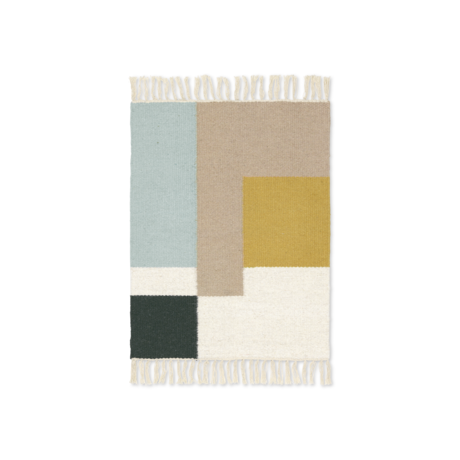 Ferm Living Mat Kelim Squares multicolour wol katoen 50x70cm