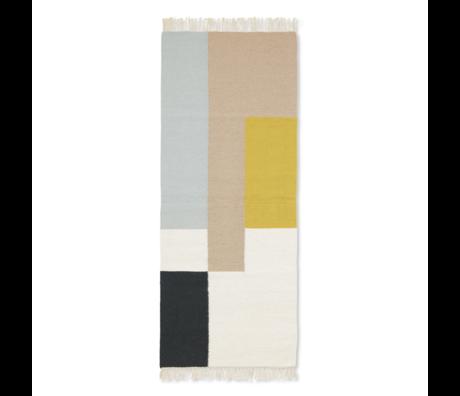 Ferm Living Tapis Kelim Runner Squares en laine multicolore coton 180x70cm