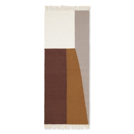 Ferm Living Vloerkleed Kelim Runner Borders multicolour wol katoen 180x70cm
