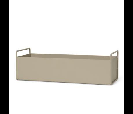 Ferm Living Boîte à plantes Cachemire beige métal S 45x14,5x17 cm