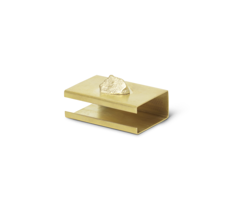 Ferm Living Stone Matchbox Cover brass gold metal 2.8x3.7x5.8cm