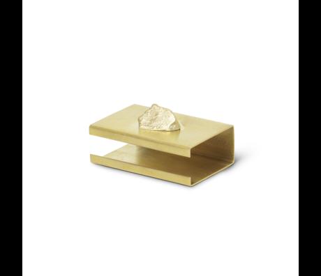 Ferm Living Stone Matchbox Cover brass goud metaal 2,8x3,7x5,8cm