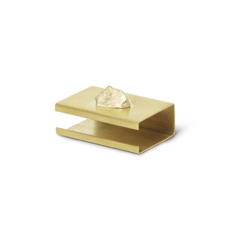 Ferm Living Stone Matchbox Cover laiton métal doré 2.8x3.7x5.8cm