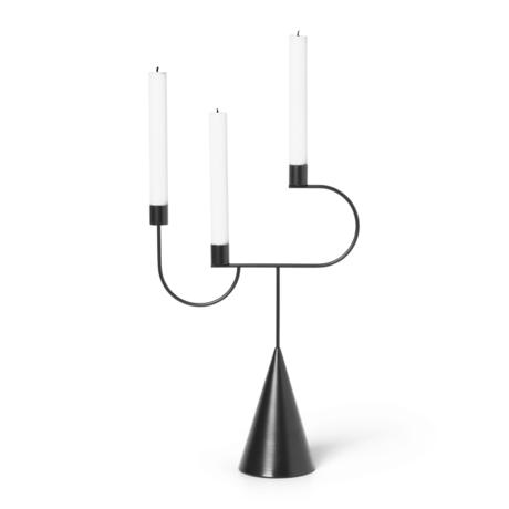 Ferm Living Kandelaar Avant Candelabra zwart metaal 26,5x10x39cm
