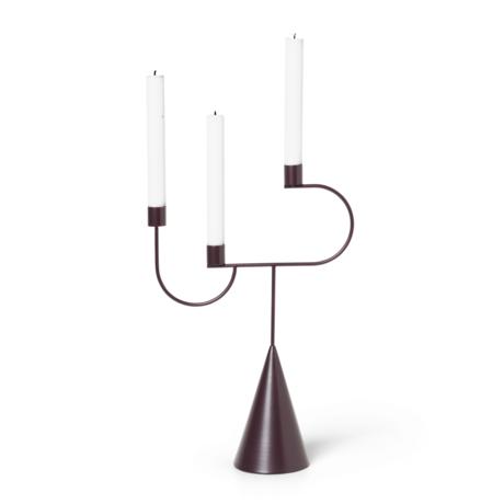 Ferm Living Candlestick Avant Candelabra Aubergine lila Metall 26,5x10x39cm