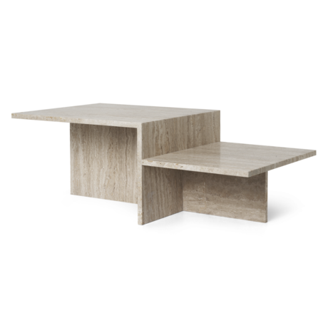 Ferm Living Table basse Distinct Travertine marron 100x55x35cm