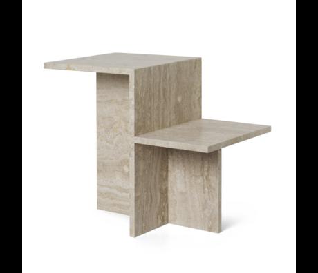 Ferm Living Table d'appoint Distinct travertin bois brun 59.5x35x50cm