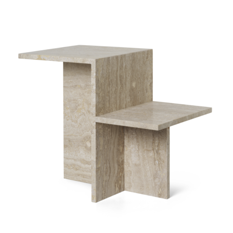 Ferm Living Bijzettafel Distinct  Travertine bruin hout 59,5x35x50cm