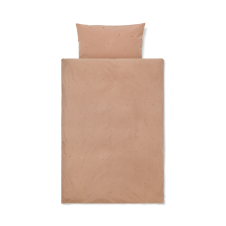Ferm Living Dekbedovertrek Dot geborduurd Baby Dusty Roze katoen 70x100cm