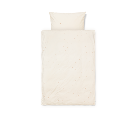 Ferm Living Duvet cover Dot embroidered Baby Off-White cotton 70x100cm