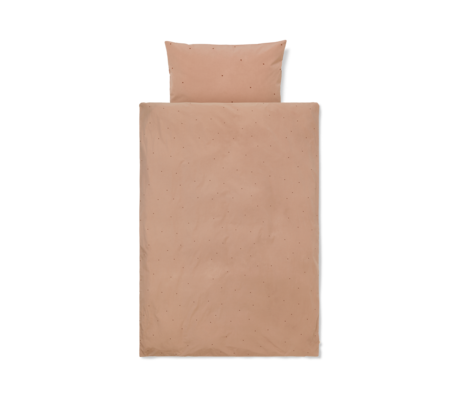 Ferm Living Dekbedovertrek Dot geborduurd Junior Dusty Roze katoen 100x140cm