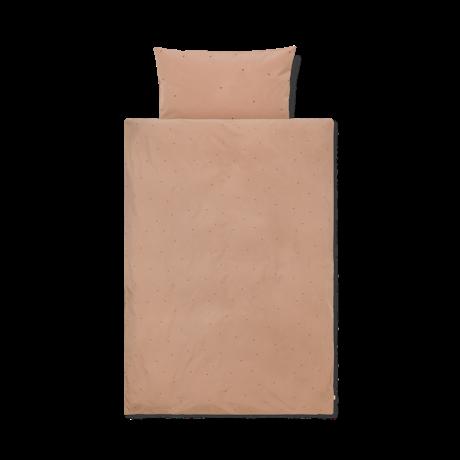 Ferm Living Duvet cover Dot embroidered Junior Dusty Pink cotton 100x140cm