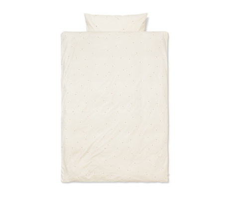 Ferm Living Duvet cover Dot embroidered Junior Off-White cotton 100x140cm