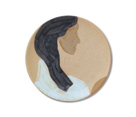 Ferm Living Teller Hessa mehrfarbige Keramik 37,5x3 cm