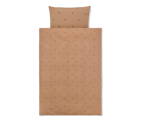 Ferm Living Duvet cover Horse Baby Tan brown cotton 70x100cm