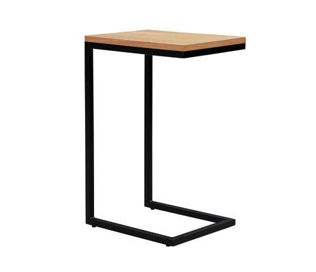wonenmetlef Beistelltisch James naturbraun schwarz Holz Metall 30x40x60cm
