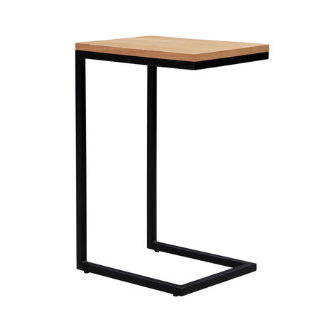 wonenmetlef Bijzettafel James naturel bruin zwart hout metaal 30x40x60cm