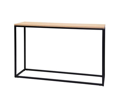 wonenmetlef Table d'appoint James naturel brun bois noir métal 120x35x75cm
