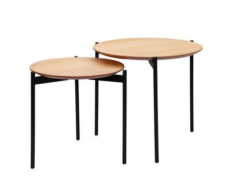 wonenmetlef Salontafel Finn naturel bruin zwart hout metaal set van 2