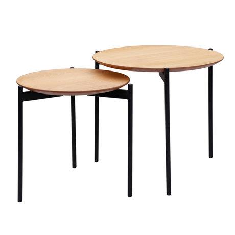 wonenmetlef Coffee table Finn natural brown black wood metal set of 2