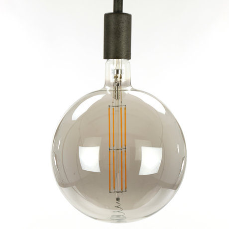 wonenmetlef Bulb LED Lenny smoke gray glass E27 Ø20x28cm