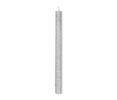 Ferm Living Kaars Uno Candles licht grijs palm wax set van 16 Ø2,2x28cm