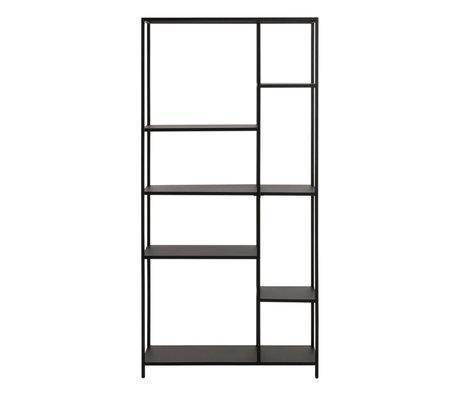 wonenmetlef Vakkenkast Jimmy zwart staal L 79,5x30x165cm