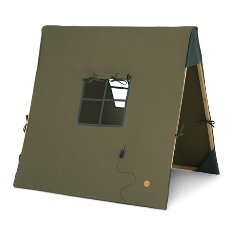 Ferm Living Tent Beetle embroidered olive green cotton 100x100cm