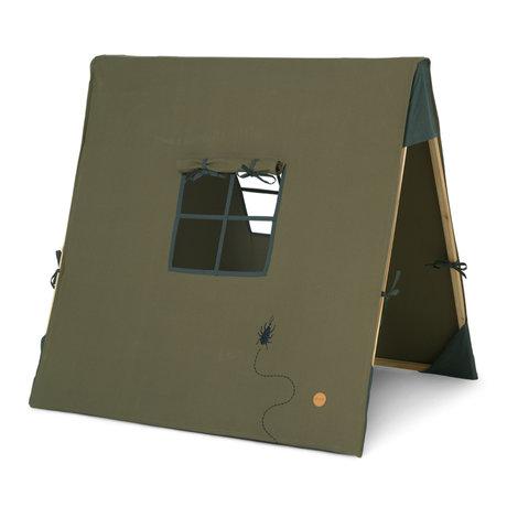 Ferm Living Tent Beetle geborduurd olijfgroen katoen 100x100cm