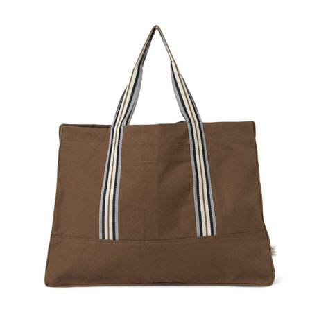 Ferm Living Weekend bag Striped Dark Tan brown 60x25x45cm