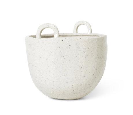 Ferm Living Pot Speckle en faïence blanc cassé Ø18.5x19cm