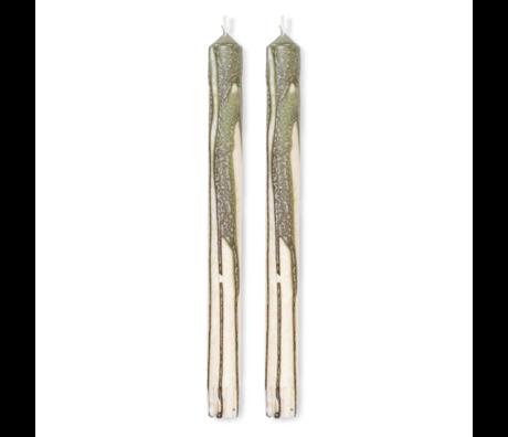Ferm Living Kaars Duo Candle olijf groen set van 2 Ø2x26cm