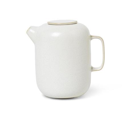 Ferm Living Coffee pot Sekki Cream white ceramic 11x15.5x15.5cm