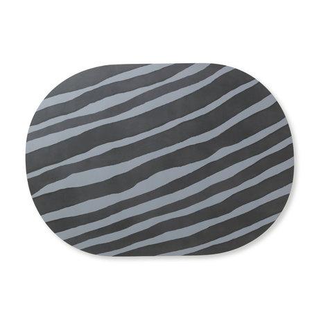 Ferm Living Placemat Safari Zebra grijs blauw MDF kurk 46x33cm