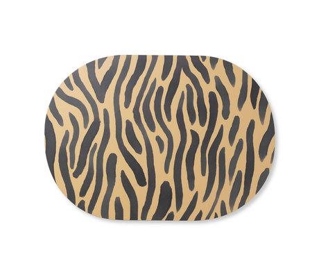 Ferm Living Placemat Safari Tiger geel zwart  MDF kurk 46x33cm