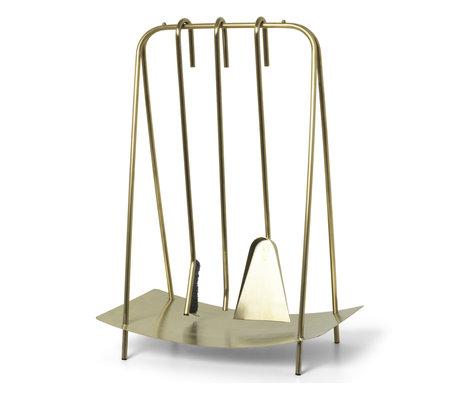 Ferm Living Openhaard gereedschap Port brass goud 39x24x55cm